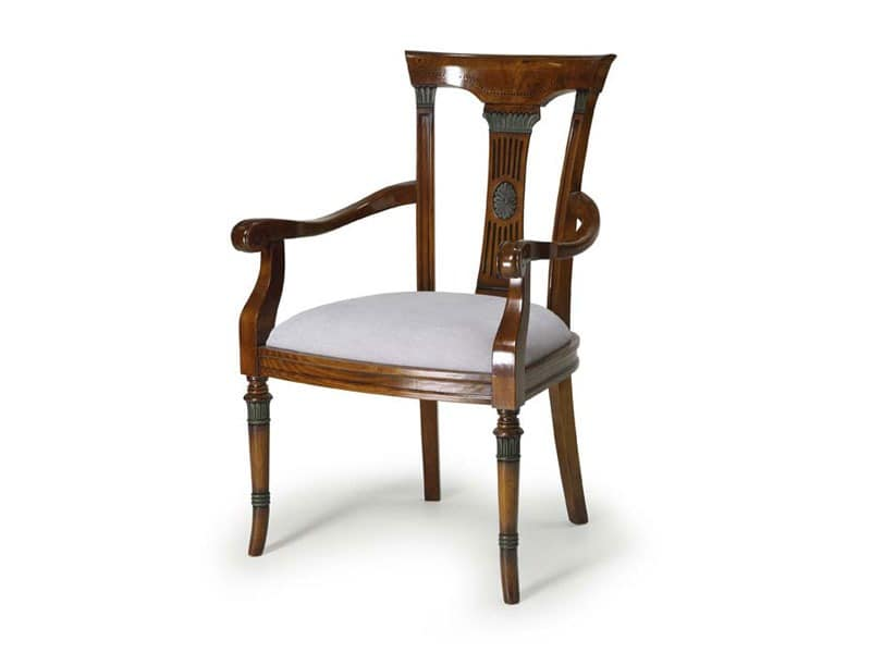Art.187 armchair, Sessel aus Holz mit gepolstertem Sitz, klassischen Stil gemacht