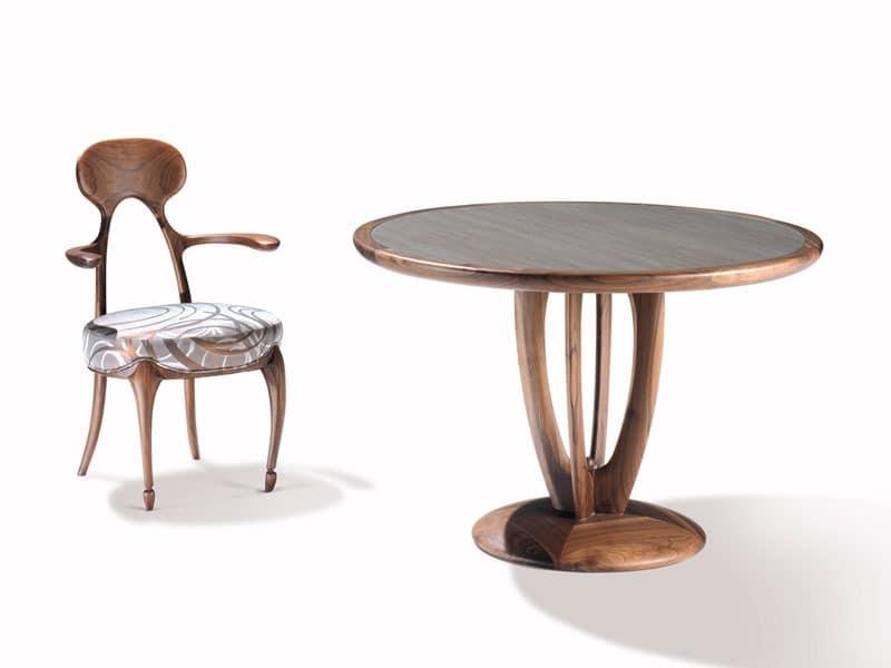 Art.243 armchair, Stuhl mit Rückenlehne und Armlehnen aus Holz