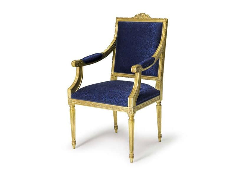 Art.442 armchair, Louis XVI-Stil Sessel, handgeschnitzte Holz