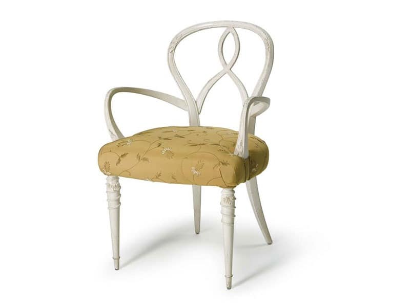 Art.496 armchair, Sessel in rohem Nussbaumholz, gepolsterter Sitz