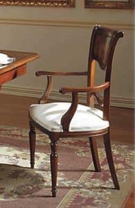 Canova Stuhl Kopf des Tisches, Stuhl Kopf des Tisches, geschnitzt und mit Intarsien, in Nussbaum