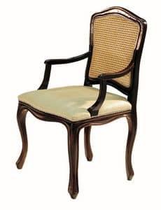 Da Vinci RA.0986, Schwarz lackierte kleine Sessel mit Sitz in Stoff und Stroh gepolstert zurück
