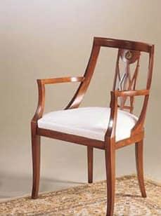 IMPERO / Stuffed armchair, Sessel aus Holz mit gepolstertem Sitz, klassischer Stil
