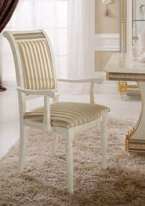 Liberty Stuhl mit Armlehnen, Stuhl mit Armlehnen, mit einem klassischen Design, kostbare Goldblattschmuck