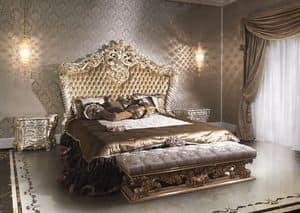 2014 Bett, Luxus im klassischen Stil Bett für Hotels, lackiert und vergoldet