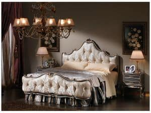3465 BED, Bett im klassischen Stil, getuftet Fußteil und Kopfteil