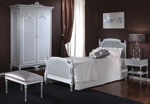 3650 BETT, Einzelbett mit Kopf- und Fußteil in Wien stock, handgeschnitzt, in Louis XVI klassischen Stil