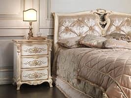 Art. 2006-IM bed, Massivholz Bett, Kopfende in Seide, für die Luxus-Hotel