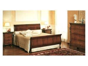 Art. 294 '800 Siciliano, Luxus-Bett, mit verzierten Kopfteil, für klassischen Stil Schlafzimmer