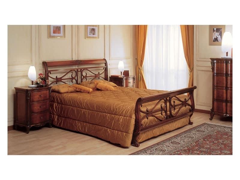 Art. 294/T '700 Francese, Die Holzbetten Handarbeit, für die klassische Zimmereinrichtung