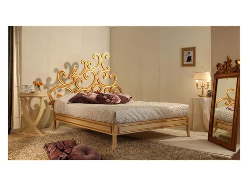 Art. 3300 Ricciolo, Bed Luxus klassisch, in Buche, Blattgold Finish