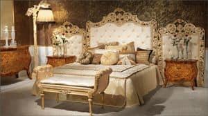 Art. 350, Luxuriöses Bett, Polsterkopfteil büschelig, handgeschnitzt