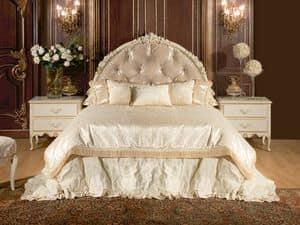 Art. 528, 800-Stil Bett, mit Kopfteil und Bettrahmen, in Stoff