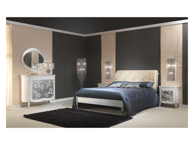 Art. 610-T Bett, Holzbett mit Silber-Finish, gepolstertes Kopfteil, für 5 Sterne-Hotel