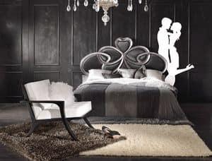 Art. 805, Klassisches Bett geschnitzt, mit silbernen Blattdekorationen