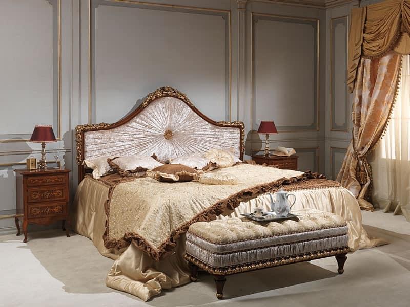 Art. 986-940 bed, Bed in Massivholz, in Samt, zum Luxushotel