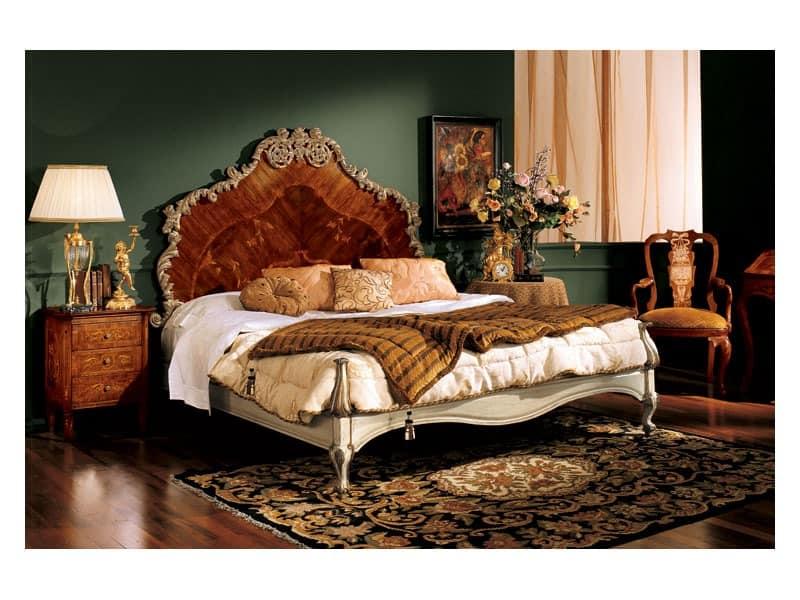 Barocco Bett 796, Doppelbett mit Kopfteil aus eingelegtem Holz, klassischen Stil gemacht