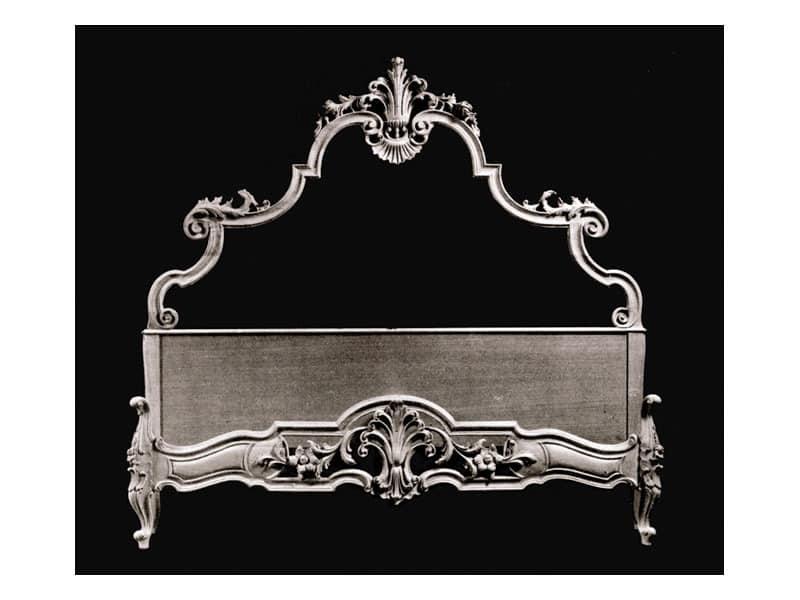 Bed art. 75/b, Klassischen Stil Bett mit Kopf- und Fußteil aus Holz