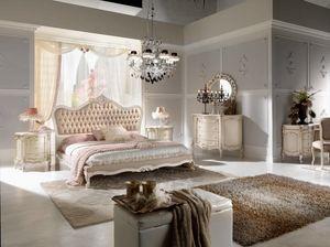 Chippendale Bett lackiert, Elegantes geschnitztes Bett