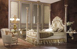 Esimia columns Bett, Bett im klassischen Stil mit Säulen