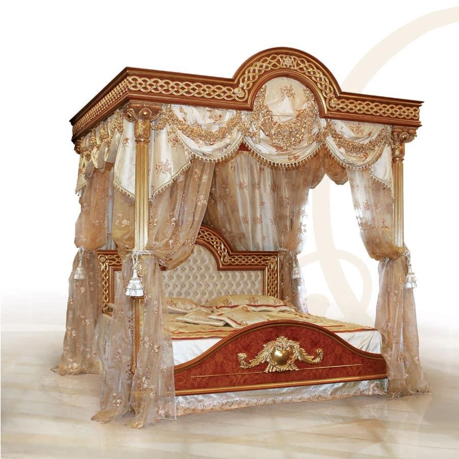 F517 Four-poster bed with Canopy, Luxuriöses Bett mit Baldachin, solide Holz geschnitzt