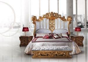 F973 Bett, Luxus Holzbett im Stil Ludwig XV dekoriert