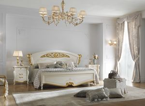 Fenice Art. 1301 - 1303, Klassisches Bett mit Golddekor