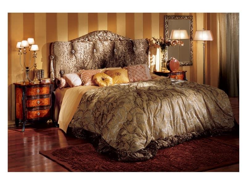 Florence bed, Klassische Bett mit gepolstertem Kopfteil