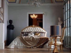 Giorgione Bett, Hand fertigen Bett, gesteppt, Blattgold Dekorationen