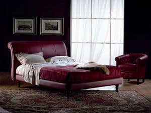 Giotto, Hand fertigen Bett, deckte in Leder, für Schlafzimmer