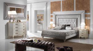 GRECALE capitonné Bett, Klassisches Bett mit einem großen getufteten Kopfteil
