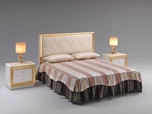 Jolie Bett, Bett mit gepolstertem Kopfteil, in Kunstleder gepolstert, für repräsentative Räume