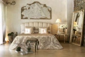 Kronos bett, Klassisches Bett mit Einsatz lackiert Elfenbein und Silber