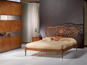 LE07 Novecento Bett, In Massivholz, eingelegt, klassischen Stil Bett