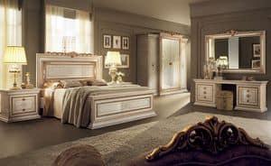 Leonardo Schlafzimmer 2, Klassische Möbel für Schlafzimmer, mit Doppelbett, Kleiderschrank 4 Türen, Schminktisch und Nachttischschubladen2