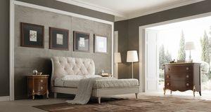 Liò weiß lackiertes Bett, Klassisches Bett, weiß lackiert