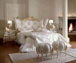 Matilde Bett, Luxuriöses und elegantes Bett mit gebleichten Golddetails