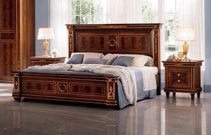 Modigliani Bett, Klassisches Bett aus Holz mit goldenen Verzierungen
