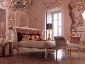 Monnet Bett, Klassisches Doppelbett in weiß lackiertem Holz