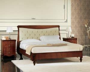 Narciso Steppbett, Nussbaum Bett mit gepolstertem Kopfteil, Handarbeit