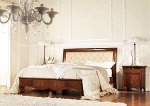 Olympia Steppbett, Gesteppte Bett aus Holz, mit Rahmen eingelegt