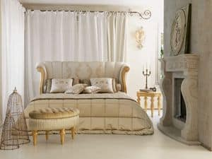 Petra, Luxury klassische Bett, Carving mit Blattgold-Finish