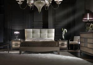 ST 704, Bett mit Kunstlederkopfteil, klassisch modernen Stil