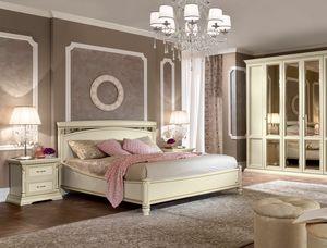 Treviso Bett, Bett mit Schnitzereien und handgefertigten Dekorationen