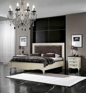 Vienna gepolstertes Bett, Lackiertes Bett mit gepolstertem Kopfteil