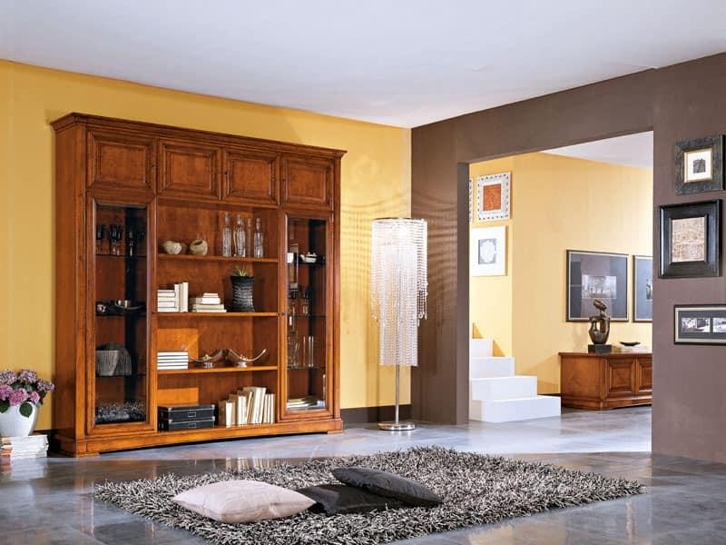 Art.102/L, Klassischen Stil Sideboard aus Holz, für Wohnräume und Küchen