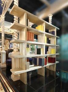 Bücherregal, Bücherregal aus sandgestrahlter Kiefer, verziert mit Goldpulver