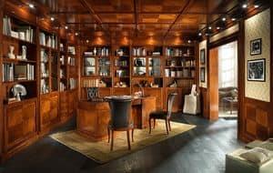 BÜRO, Bibliothek mit Holzvertäfelung und Zwischendecke, im klassischen Stil