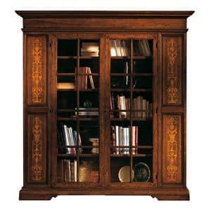 Capoliveri ME.0117, Bücherregal in Nussbaum mit 2 Glastüren, klassischen Stil