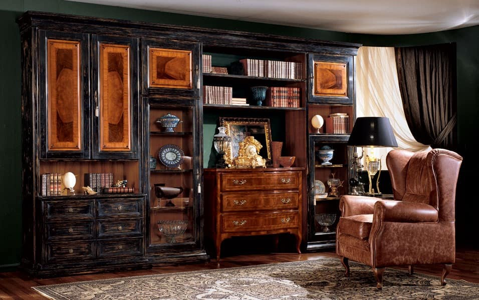 Display bookcase 731 F, Bücherregal mit dunklem Finish